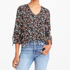 J. Crew Mercantile Floral Ruffle Sleeve Blouse Top